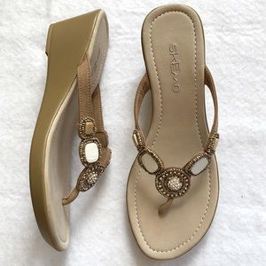 SKEMO Beaded/Jeweled Tan Leather Wedge Sandals